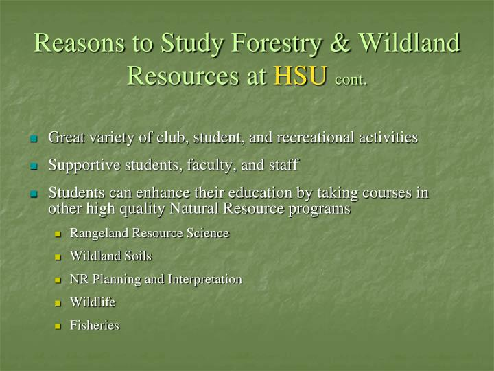 Reasons to Study Forestry &