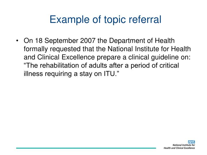 Example of topic referral