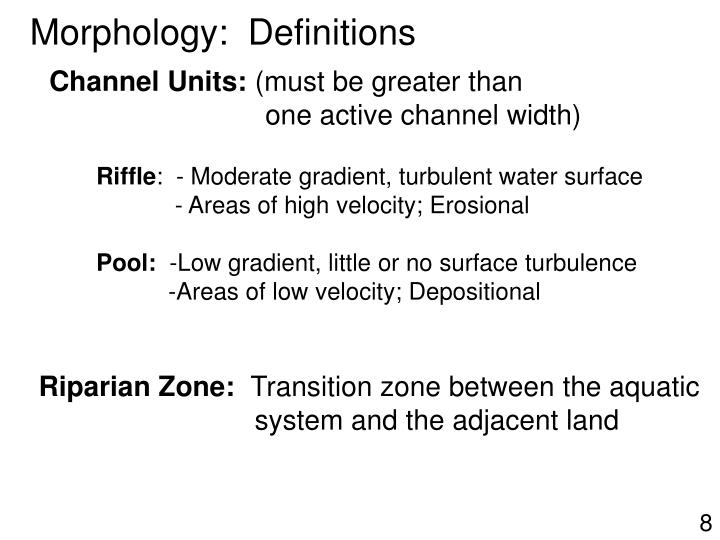 Morphology:  Definitions