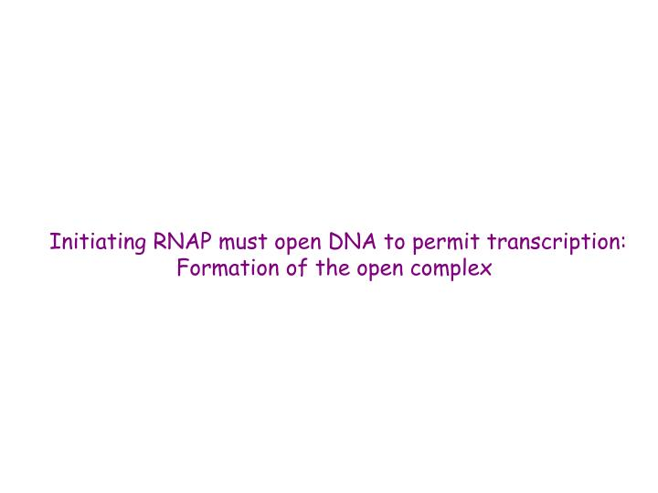 Initiating RNAP must open DNA to permit transcription: