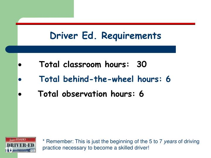 Driver Ed. Requirements