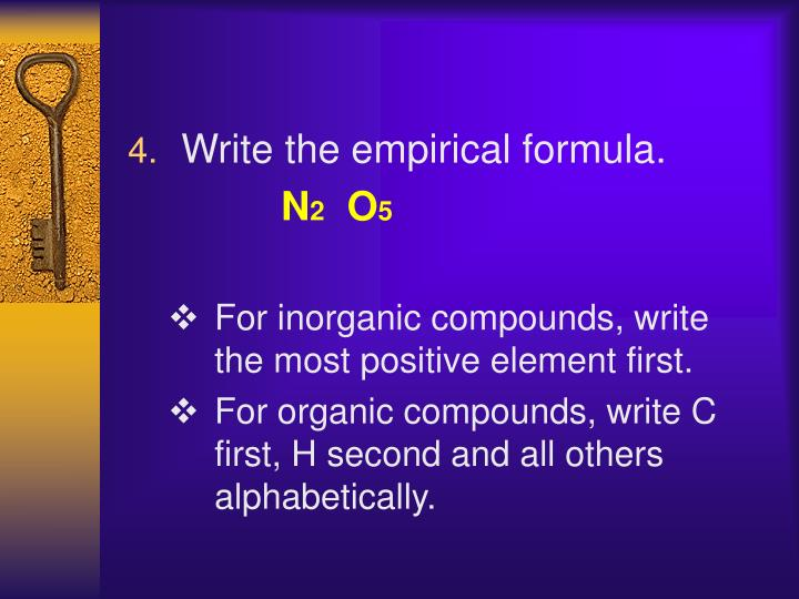 Write the empirical formula.