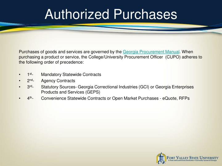 Authorized purchases