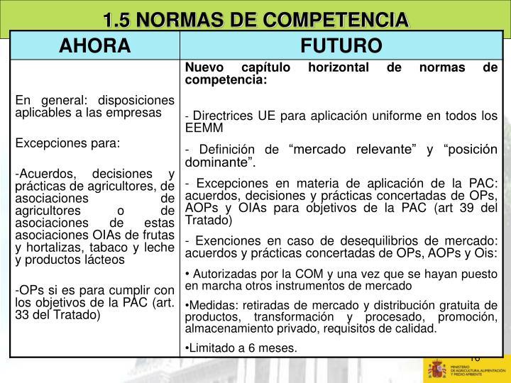 1.5 NORMAS DE COMPETENCIA