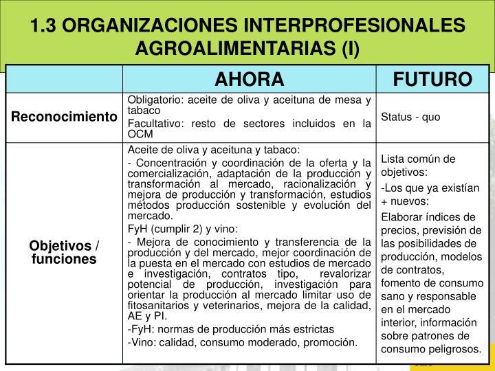 1.3 ORGANIZACIONES INTERPROFESIONALES AGROALIMENTARIAS (I)