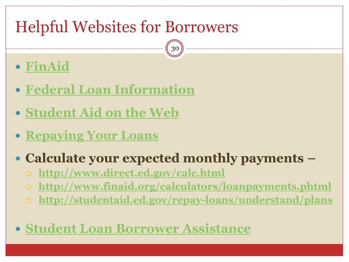 Helpful Websites for Borrowers