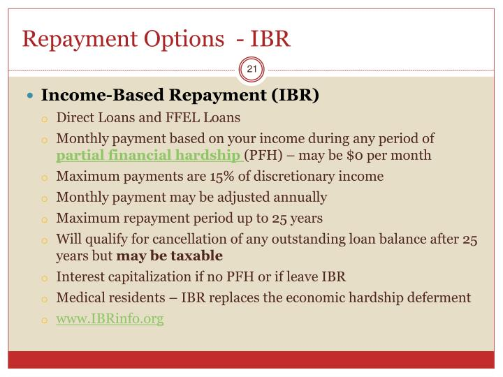 Repayment Options  - IBR