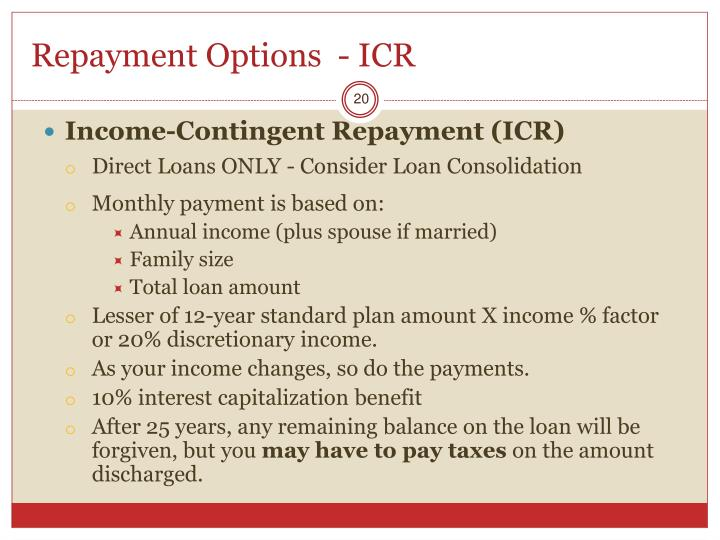 Repayment Options  - ICR