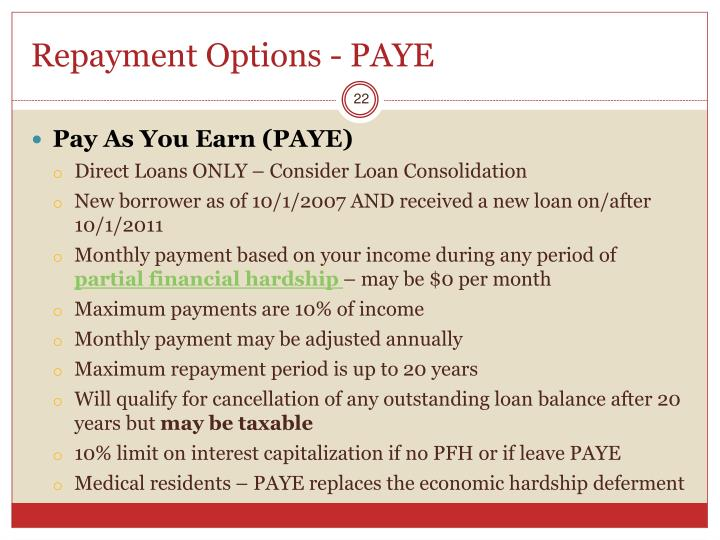 Repayment Options - PAYE