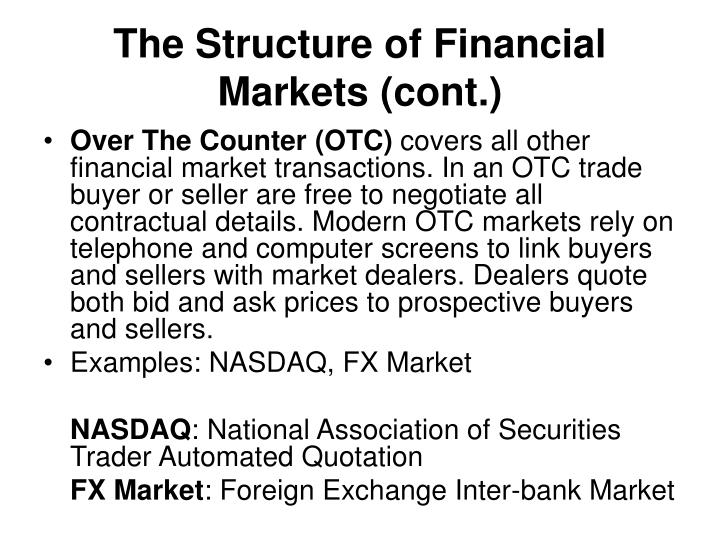 The Structure of Financial Markets (cont.)
