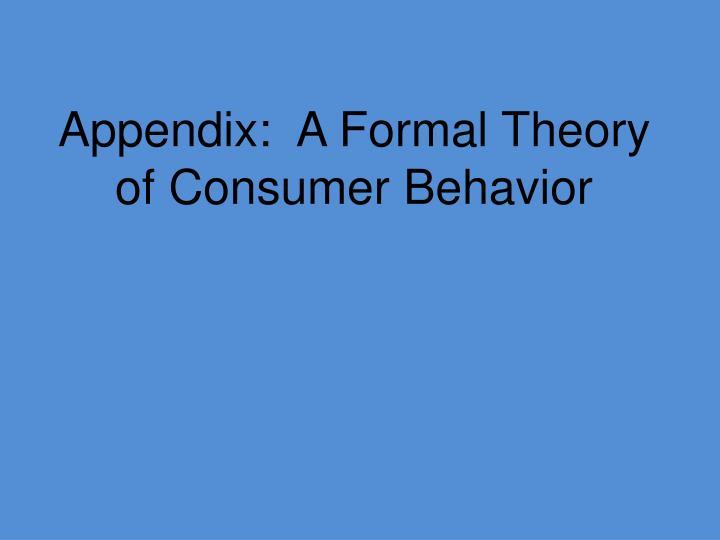 Appendix:  A Formal Theory of Consumer Behavior