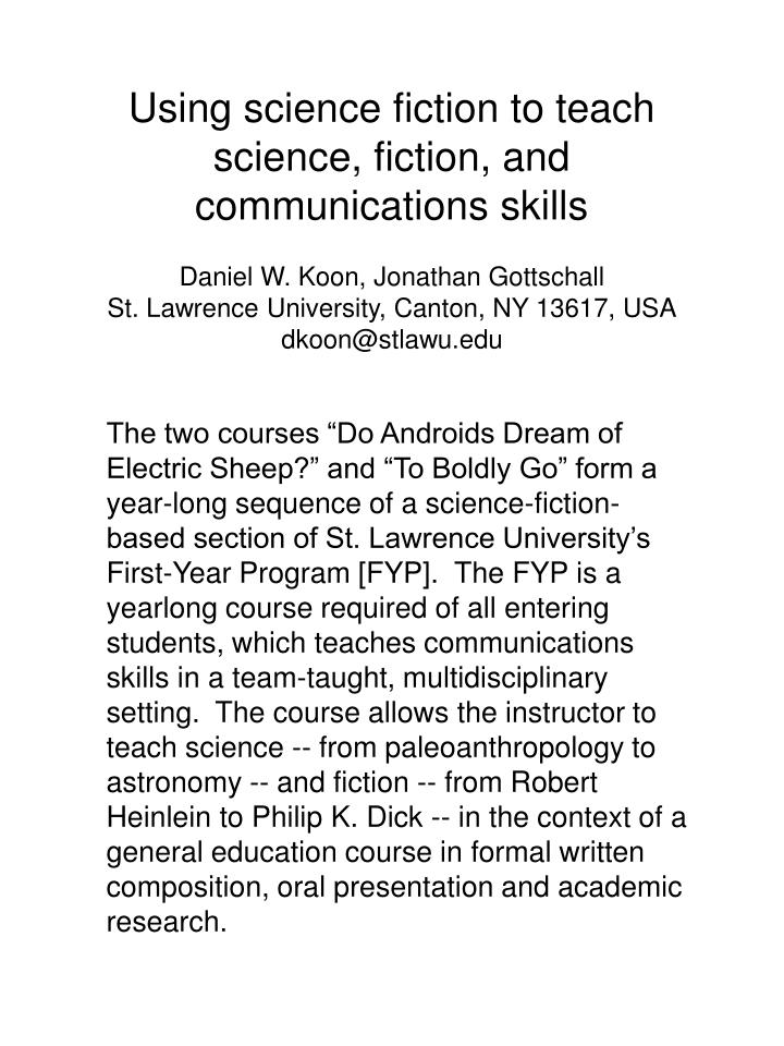Using science fiction to teach