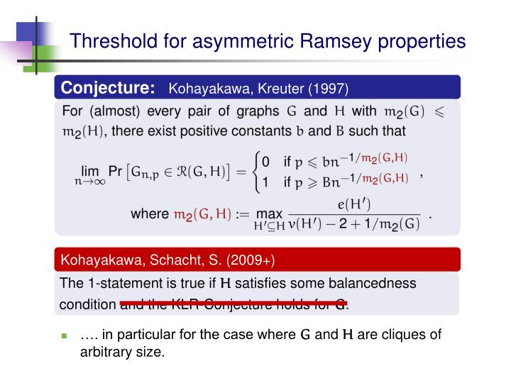 Threshold for asymmetric Ramsey properties