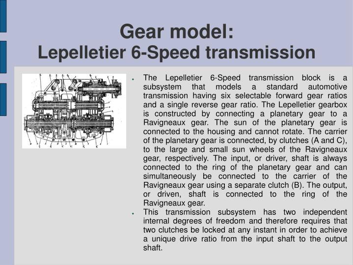 Gear model: