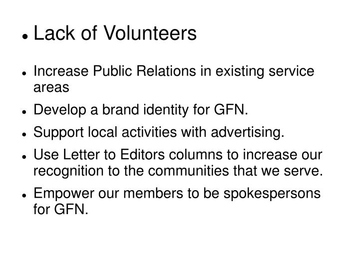 Lack of Volunteers