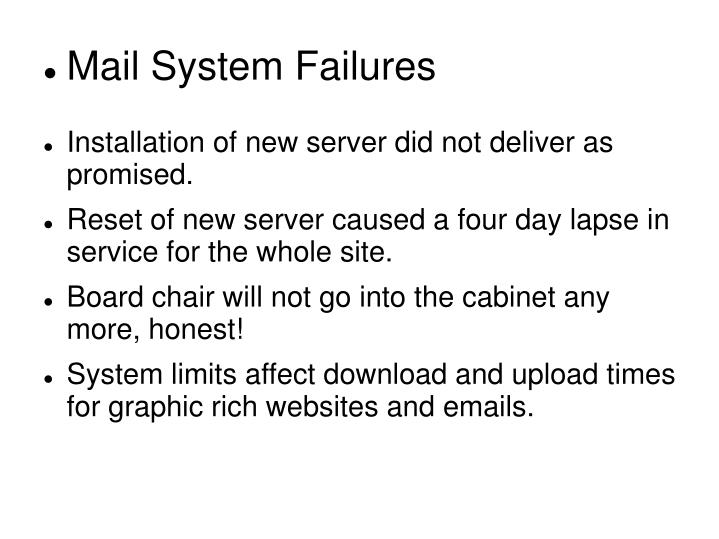 Mail System Failures