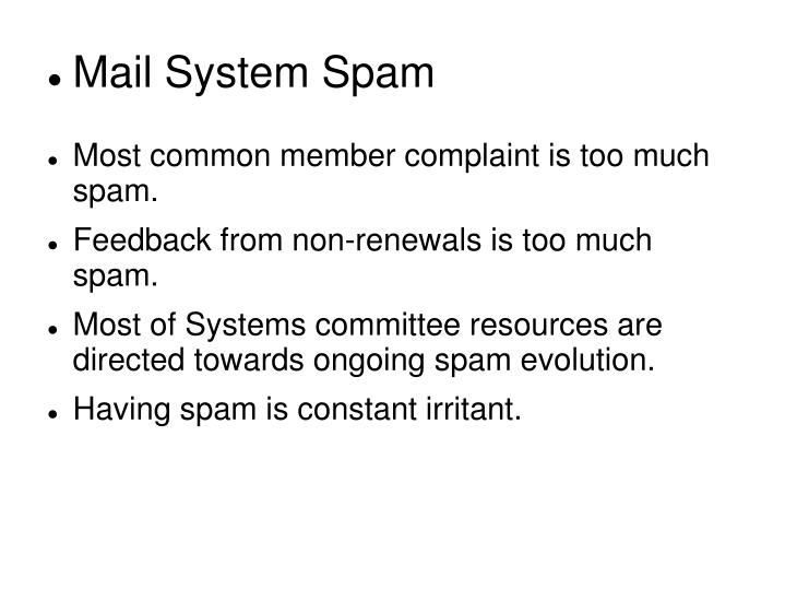Mail System Spam