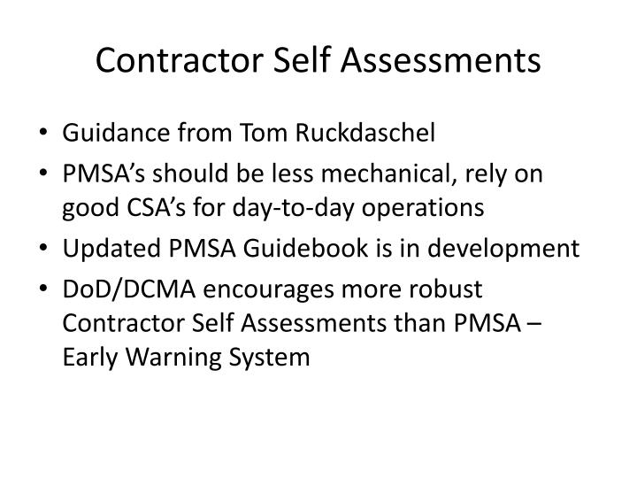Contractor Self Assessments