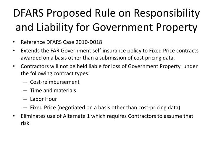 DFARS Proposed Rule on Responsibility and Liability for Government Property