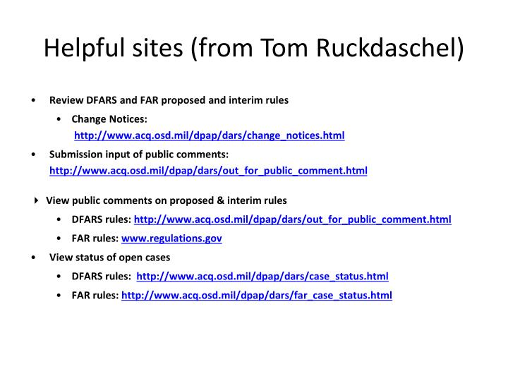 Helpful sites (from Tom
