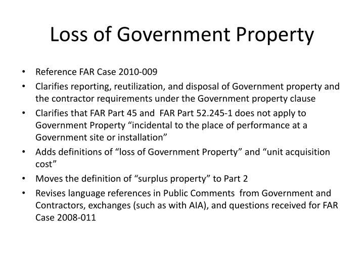 Loss of Government Property