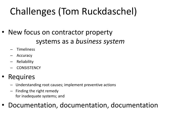 Challenges (Tom
