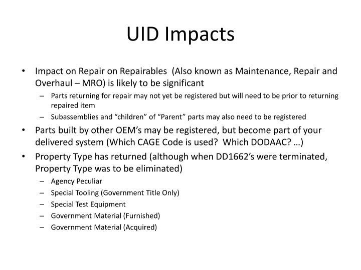 UID Impacts