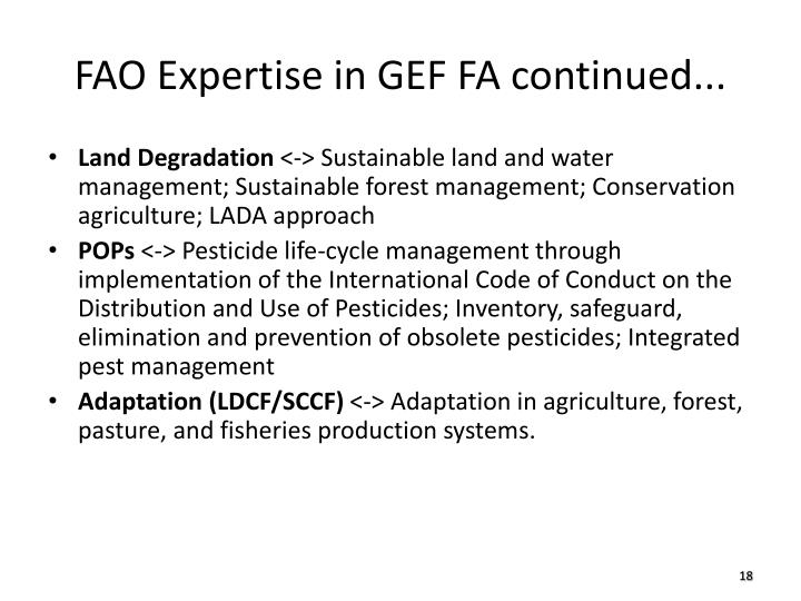 FAO Expertise in GEF FA continued...