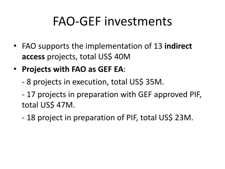 FAO-GEF investments
