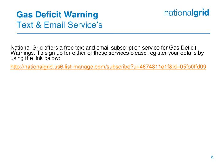 Gas deficit warning text email service s