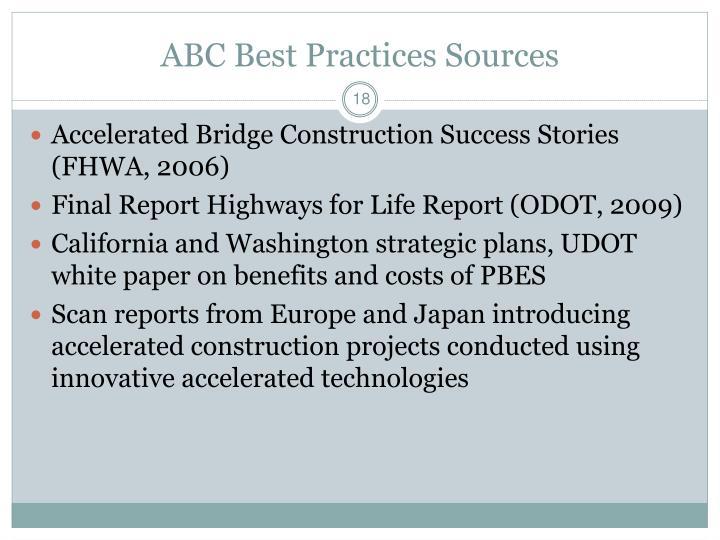 ABC Best Practices Sources