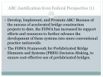 abc justification from federal perspective 1