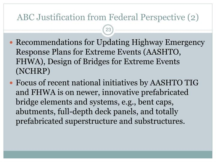 ABC Justification from Federal Perspective (2)