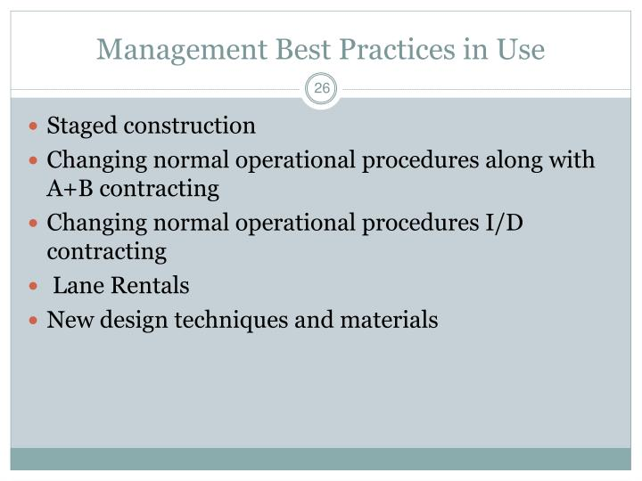 Management Best Practices in Use