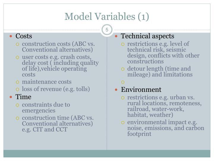 Model Variables (1)