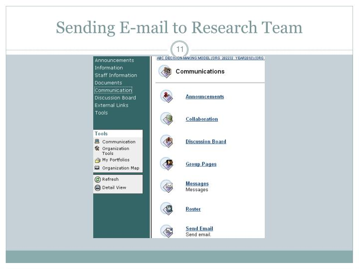 Sending E-mail to Research Team