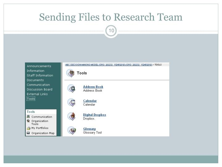 Sending Files to Research Team