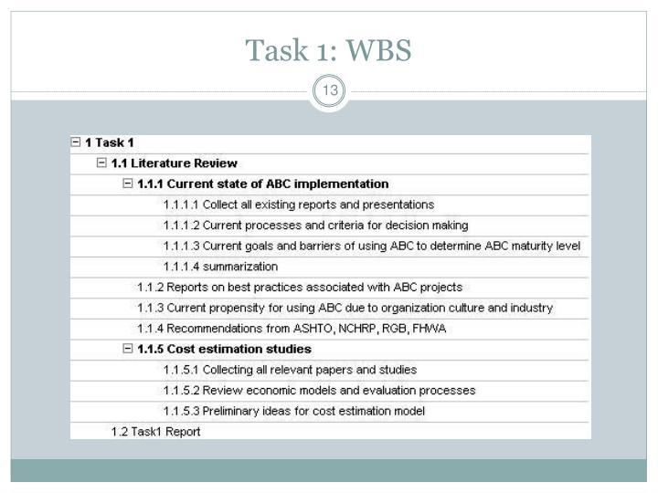 Task 1: WBS