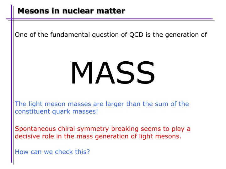 Mesons in nuclear matter