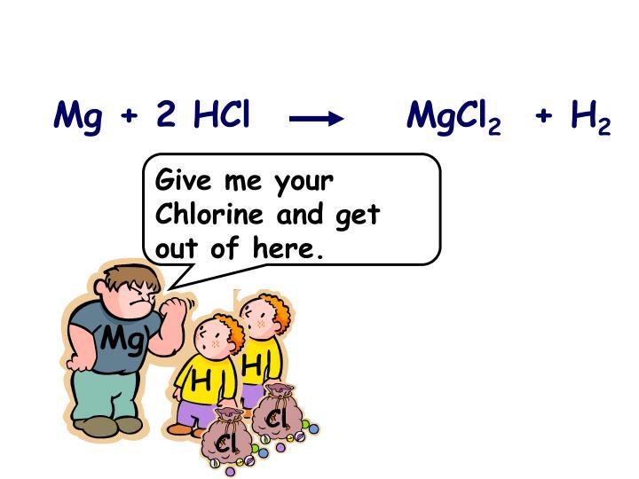 Mg + 2 HCl          MgCl
