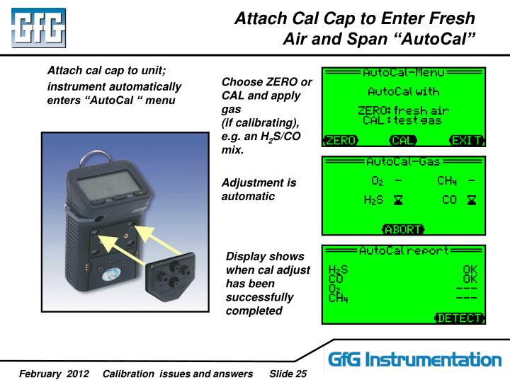 Attach cal cap to unit;