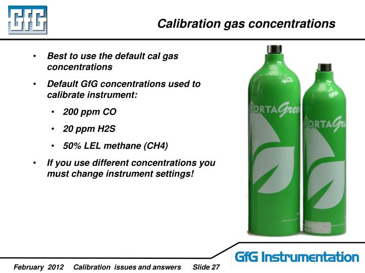 Calibration gas concentrations