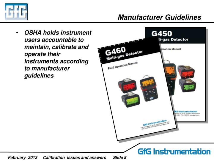 Manufacturer Guidelines