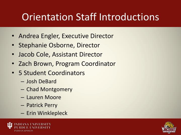 Orientation staff introductions