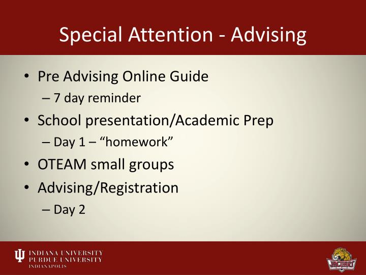 Special Attention - Advising