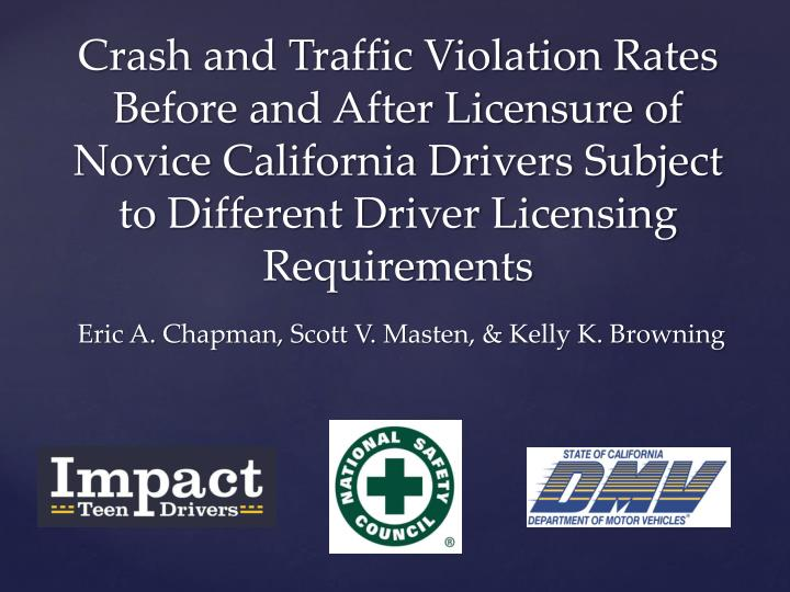 Crash and Traffic Violation Rates Before and After Licensure of Novice California Drivers Subject to Different Driver Licensing Requirements