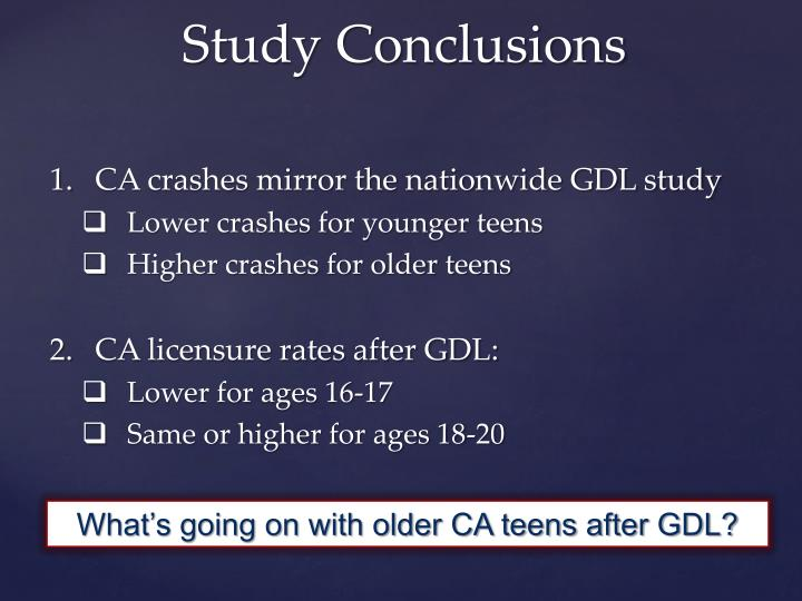 CA crashes mirror the nationwide GDL study