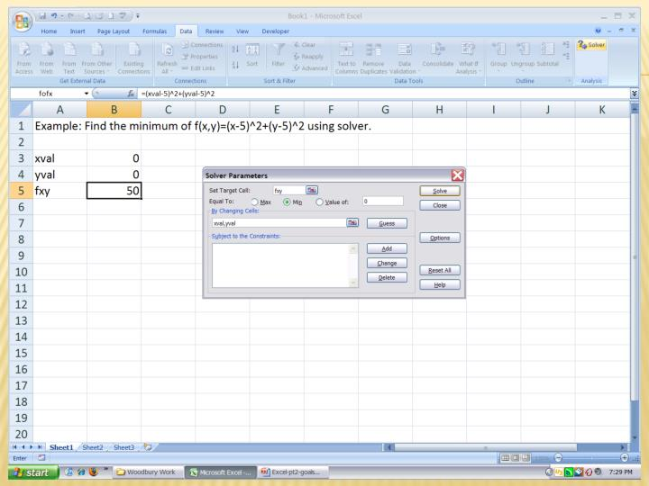 Example 2: the SOLVER dialog box