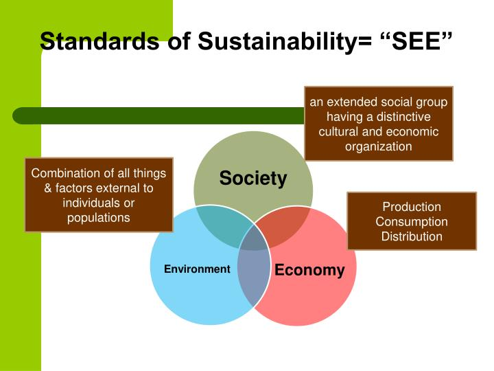 "Standards of Sustainability= ""SEE"""