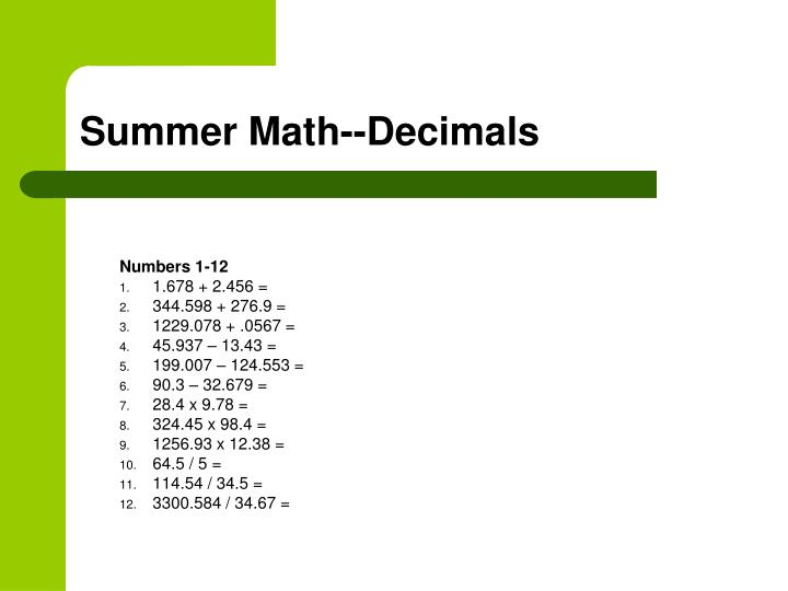 Summer Math--Decimals